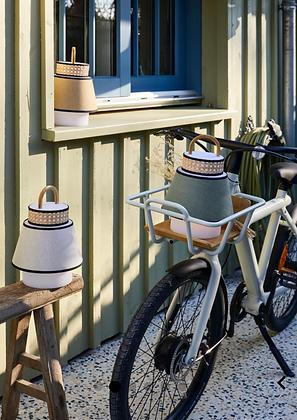 Lampe baladeuse cannage bambou tissu jaune vert blanc à poser dehors été Market Set Moodbox