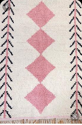 tapis beni ouarain véritable rose losanges fait main maroc berbère moodbox