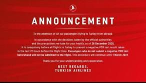 Atualização - procedimentos importantes para passageiros que viagem com destino à Turquia