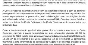 Covid-19: Costa Cruzeiro