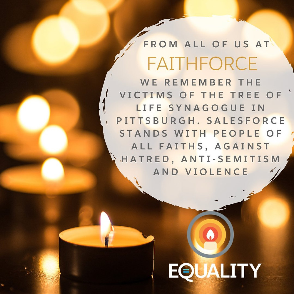A graphic Salesforce made for a vigil after the Tree of Life shooting.