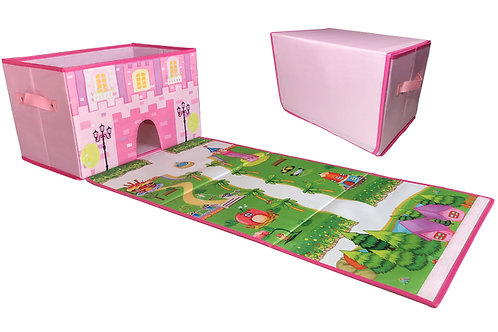 EMBRACE PLAY Toy storage box with play mat - Toy box for girls - 2 in 1 collapsi