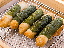 Perilla leaf wrapped fish cakes