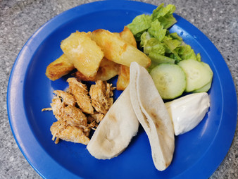 Chicken Fajita Pitta pockets with salad,