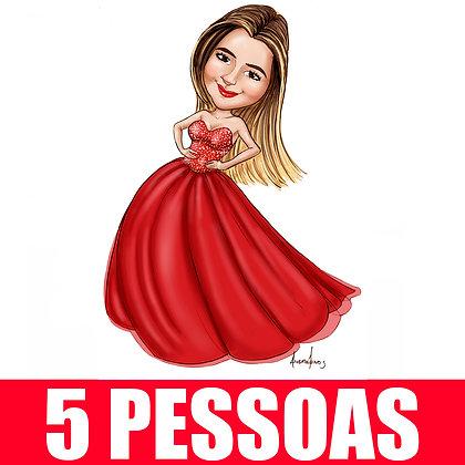 KIT 5 Pessoas - Caricatura Digital Corpinho Colorido - cód: 05 ECC