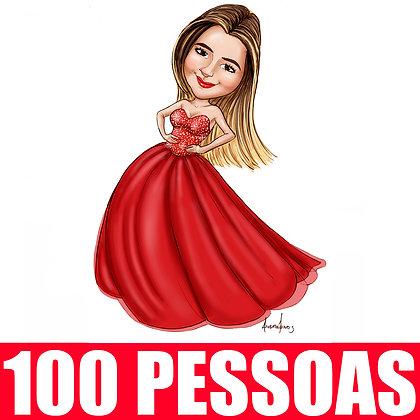KIT 100 Pessoas - Caricatura Digital Corpinho Colorido - cód: 100 ECC