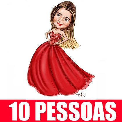 KIT 10 Pessoas - Caricatura Digital Corpinho Colorido - cód: 10 ECC
