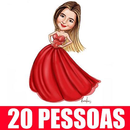 KIT 20 Pessoas - Caricatura Digital Corpinho Colorido - cód: 20 ECC