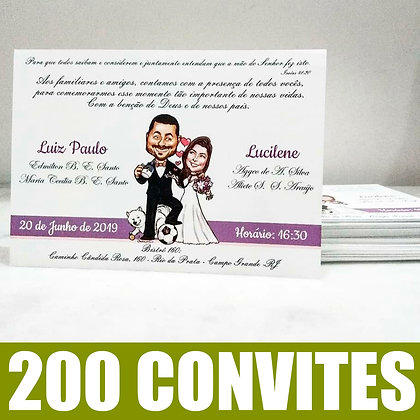 Pacote de 200 convites + Caricatura de noivinhos