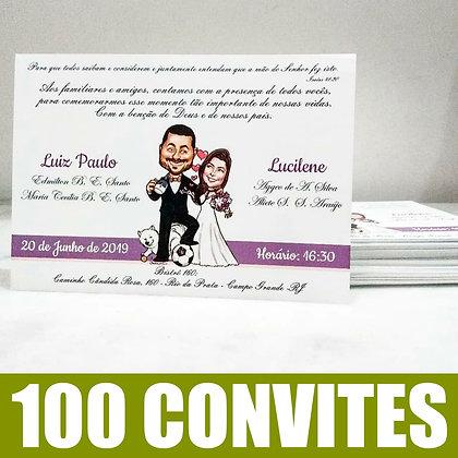 Pacote de 100 convites + Caricatura de noivinhos