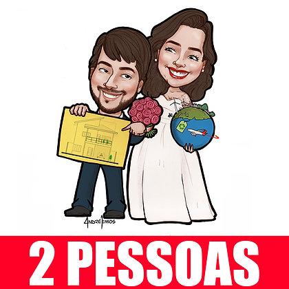 2 Pessoas (ou Noivinhos) - Caricatura Digital Corpinho Colorido - cód: 02 ECC