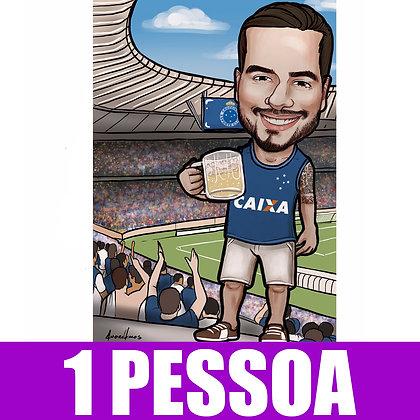 1 Pessoa - Caricatura Digital CENÁRIO e Corpinho Colorido - cód: 1 ECN