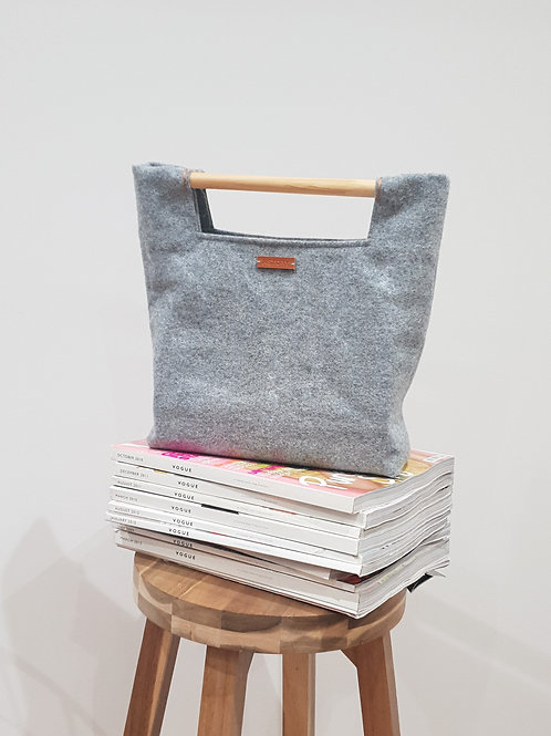 Wool Bag With Wooden Handle - Light Grey