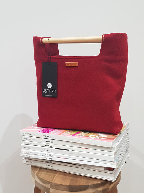 Wool Bag With Wooden Handle - Red