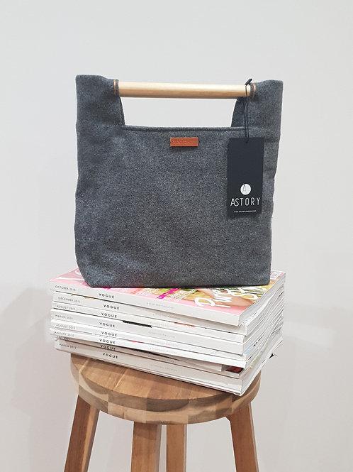 Wool Bag With Wooden Handle - Dark Grey