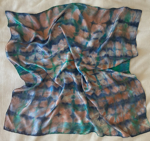 Green and Blue Scarf 90 x 90