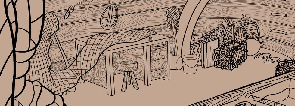 Inside Fisherman's hut - Line Art