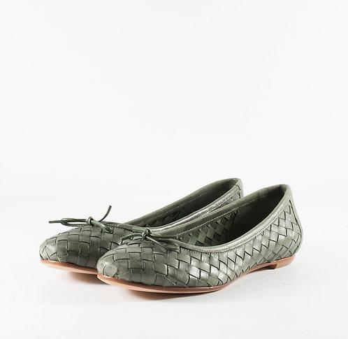 墨綠編織芭蕾舞平底娃娃鞋