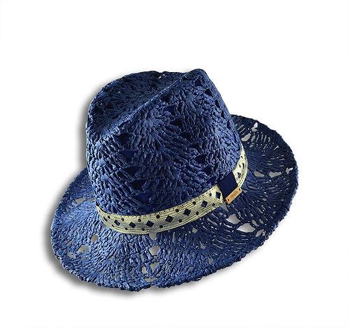 寶藍藤編紳士造型帽