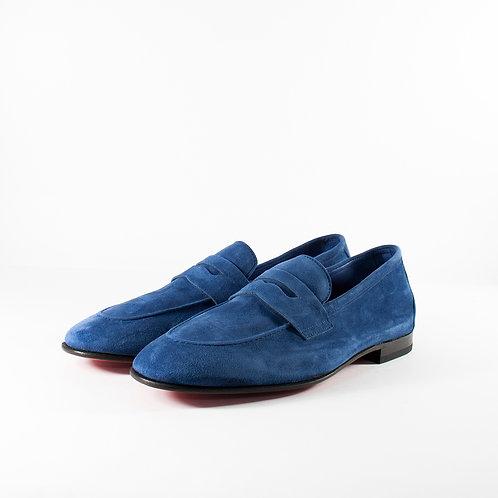 寶藍色麂皮男士樂福鞋