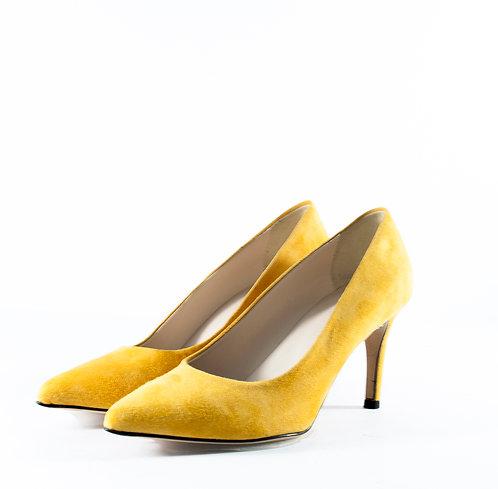 麂皮秋香黃尖頭跟鞋