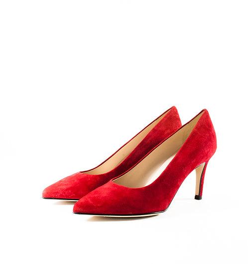 麂皮艷麗紅尖頭跟鞋