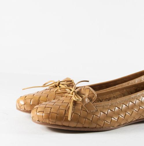 駝色編織樂福平底娃娃鞋