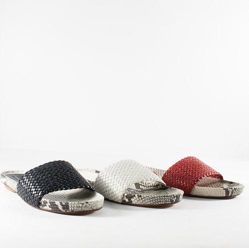 編織平底蛇皮紋涼拖鞋