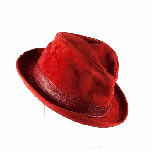 真皮絨面紳士圓帽