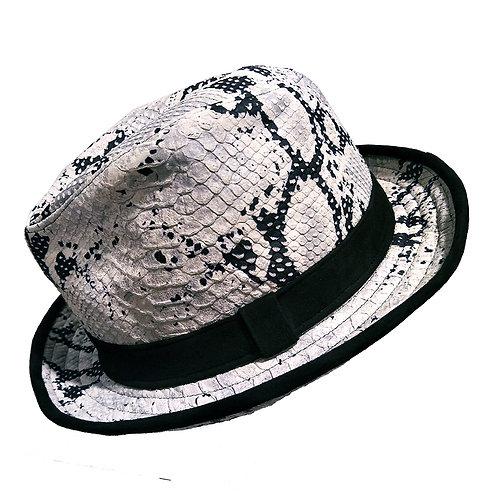 真皮蟒蛇壓紋紳士帽