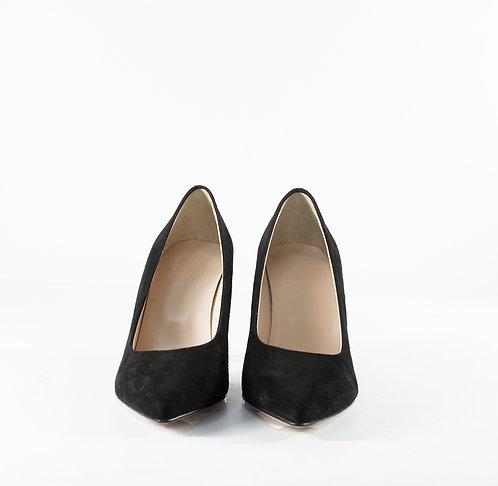 麂皮時尚黑尖頭跟鞋