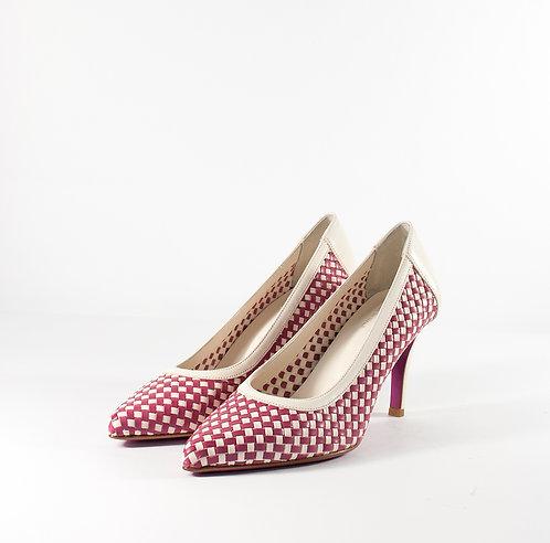 雙色編織尖頭跟鞋