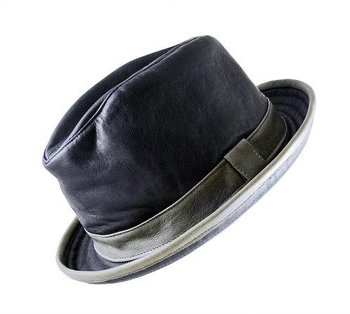 真皮手染紳士圓帽