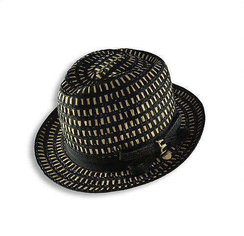 酒椰棕黑格紋紳士帽