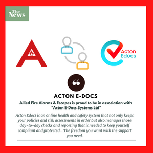 """Allied Fire Alarms & Escapes is proud to be in association with """"Acton E-Docs Systems Ltd"""""""