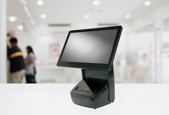 Hisense Luna HK718 PoS System on counter with blurred background