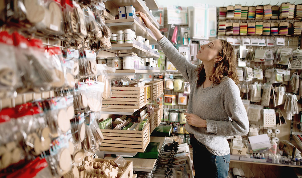 woman shopping in a stationery store