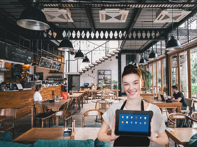 Waitron holding tablet in a restaurant.p
