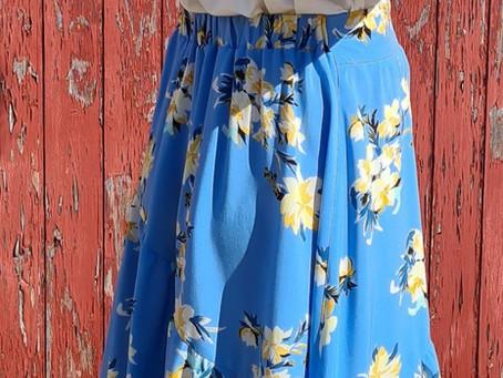 Lynn Pinafore flat front elastic back skirt hack