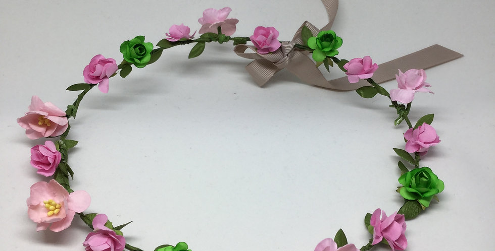 Green & Pink Paper Rosettes