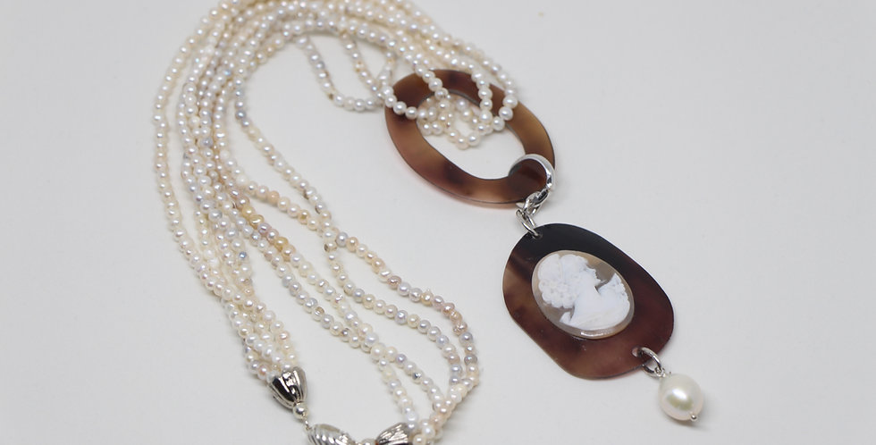 Carved Cameo  & Pearl Necklace