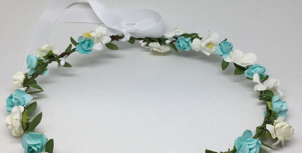 White & Turquoise Paper Rosettes