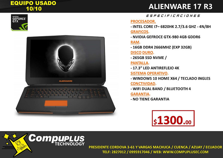 Portátil Alienware 17 R3