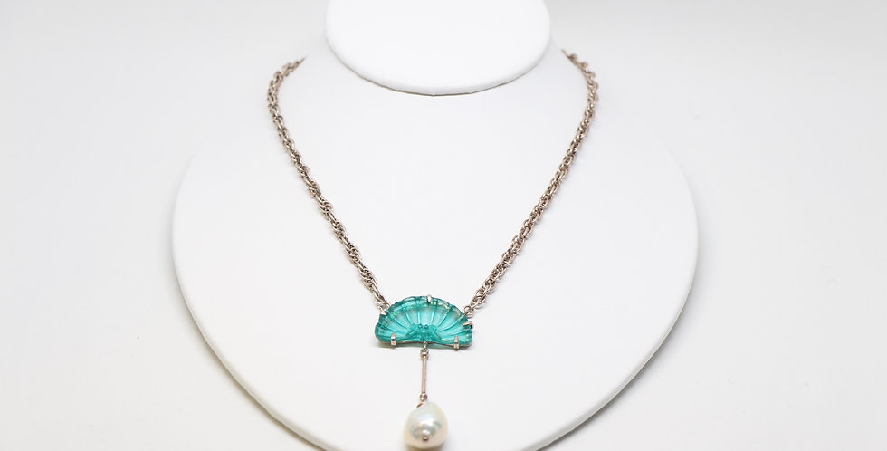Silk Road Pearl & Carved Amazonite Necklace