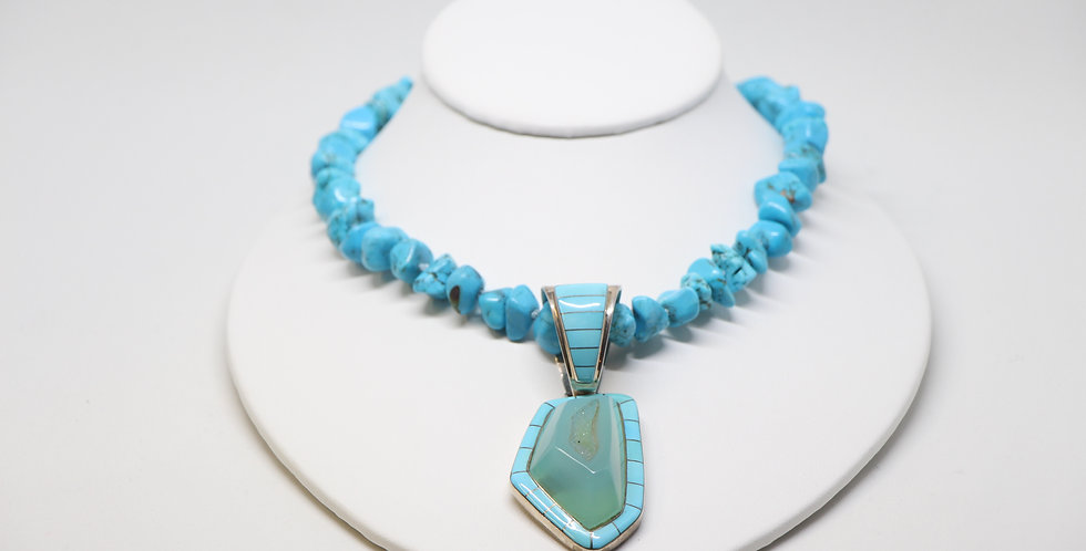 Turquoise Druzy Pendant Necklace