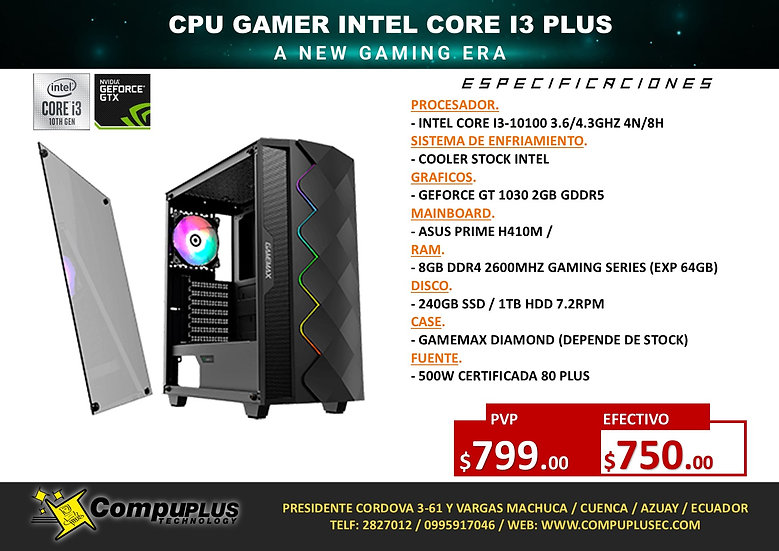 CPU GAMER INTEL I3 PLUS