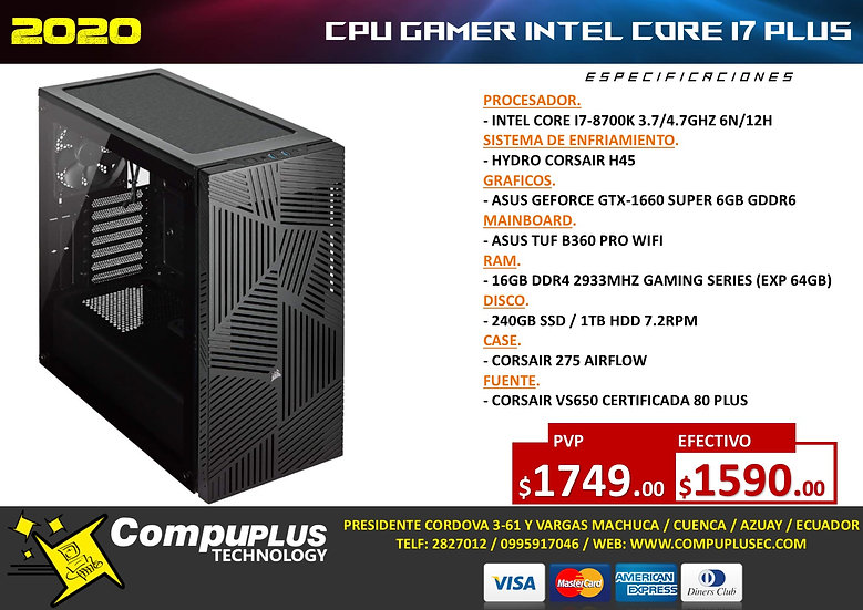 CPU GAMER INTEL I7 MAX++
