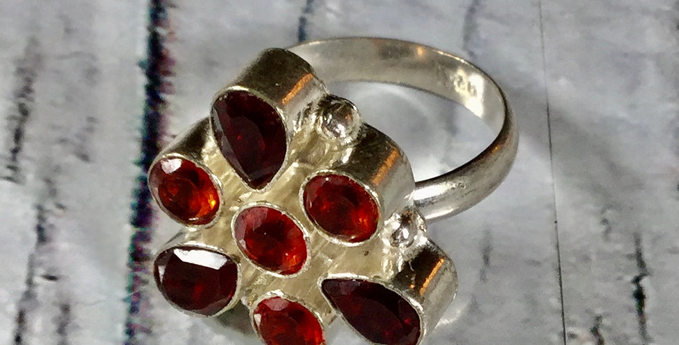 Garnet & Silver Boho Ring
