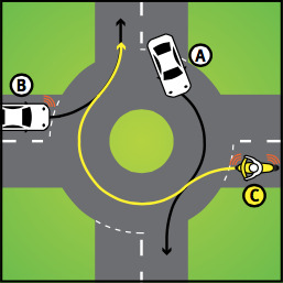 example of giving way question in learner driver test