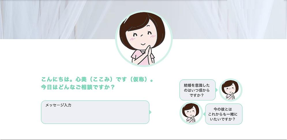 キャラクターチャットサービスによる心理カウンセリング一次受付コーナー